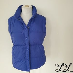 Land's End Vest Puffer Down Fill Blue Nylon Hi Lo
